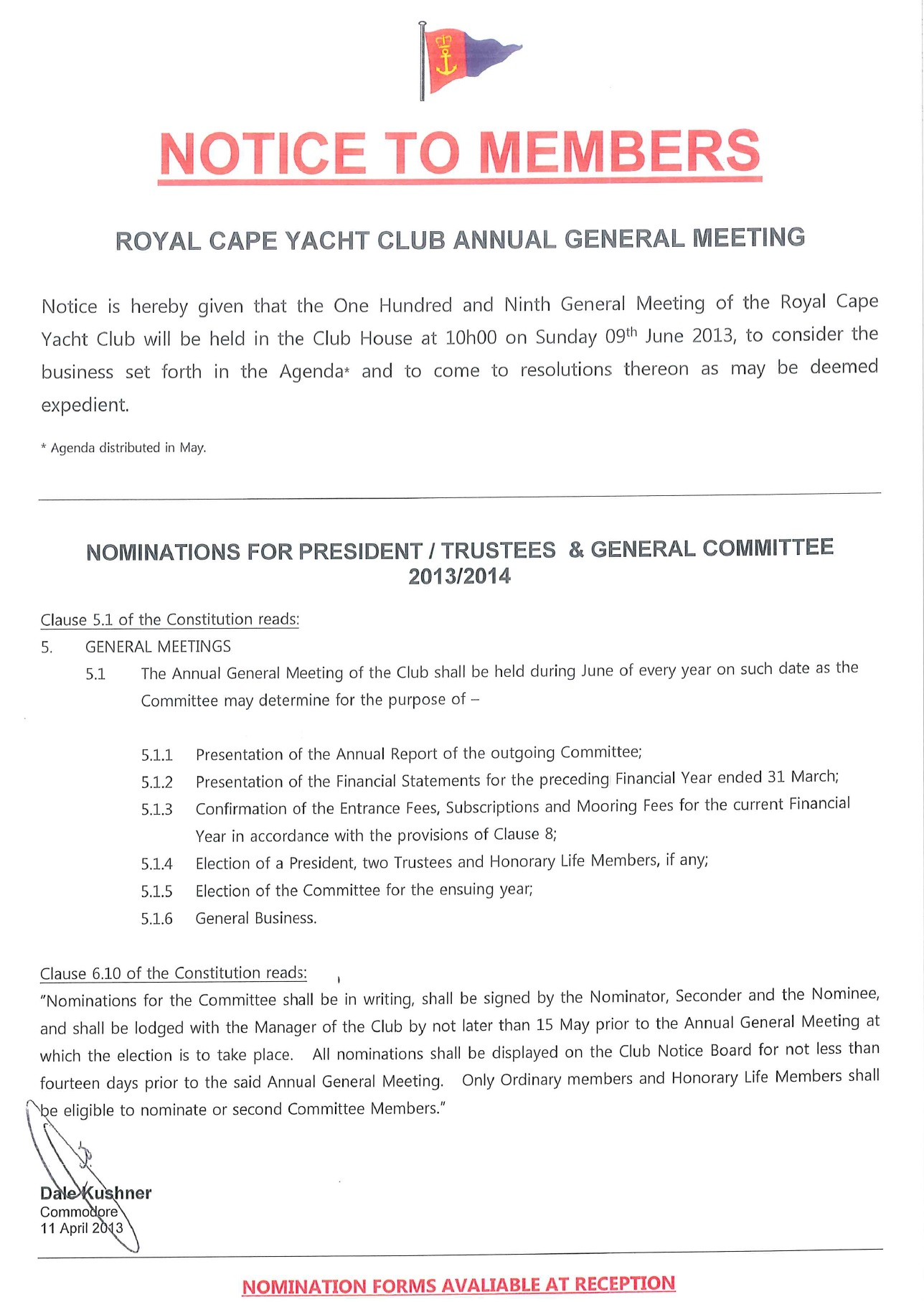 Notice of 109th annual general meeting royal cape yacht club.