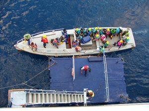The shore crew boarding