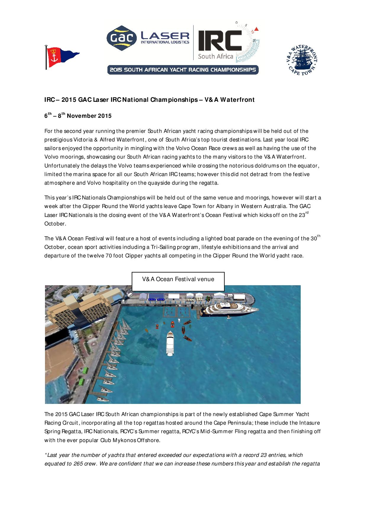 2015 IRC National Championships press release page 001