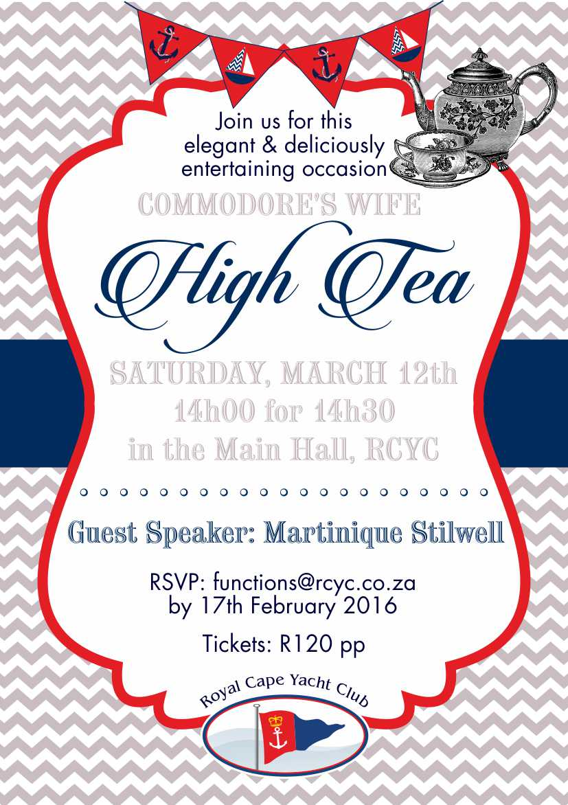 The Commodore's Wife High Tea – 12 March 2016