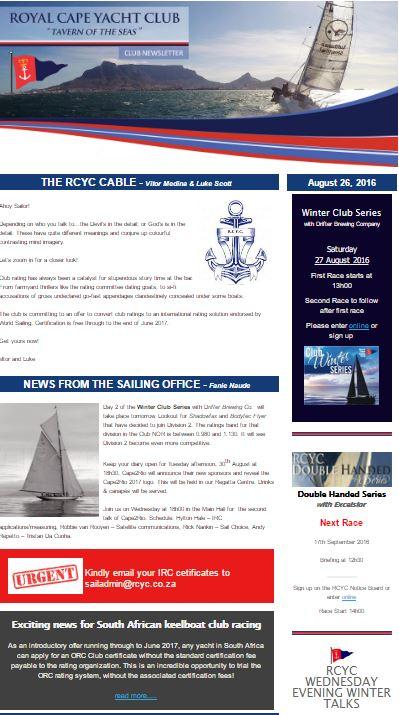 Club Newsletter – 26 August 2016