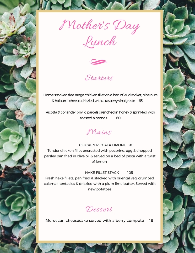 Mothers Day Lunch Menu 2017