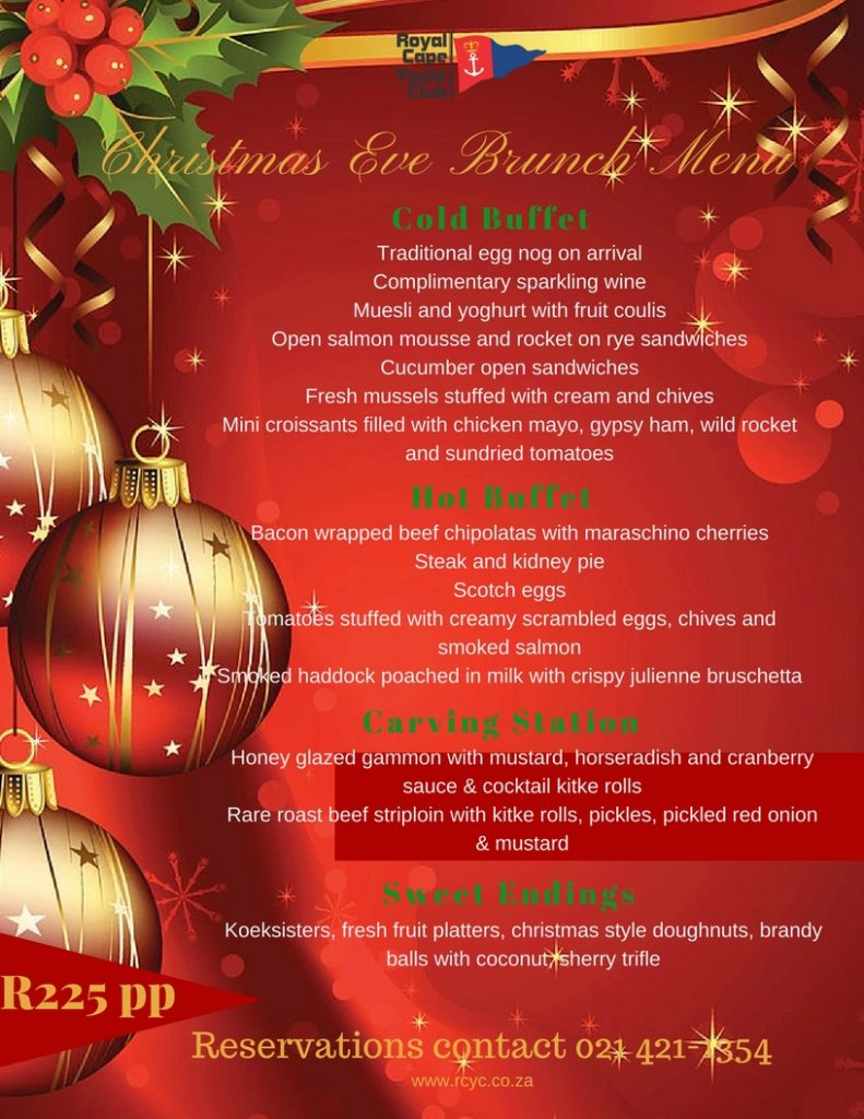 Christmas Brunch Menu.Christmas Brunch Menu Royal Cape Yacht Club