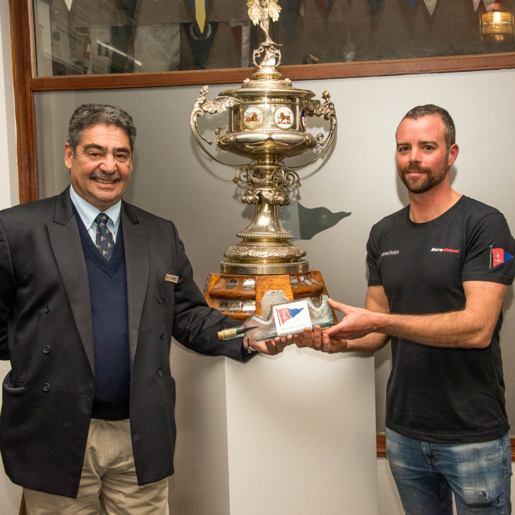 "Roger Receiving The ""water ""from The Commodore Vitor Medina"
