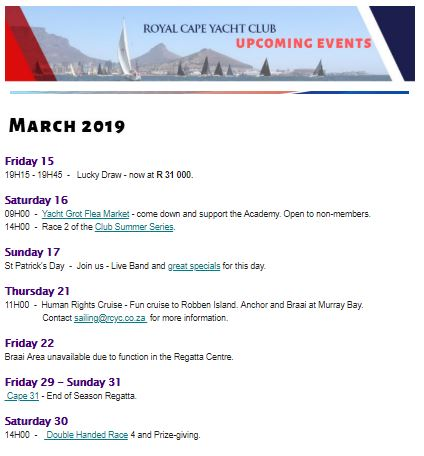 Upcoming Events March/April 2019 - Royal Cape Yacht Club