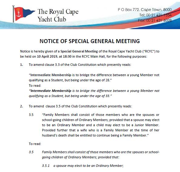 Notice Of Special General Meeting – 10 April 2019