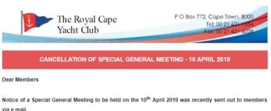 Cancellation Of SGM – 10 April 2019